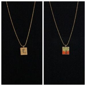 "Jewelry - Two Sided Scrabble Tile ""E"" Necklace"